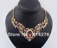 2013 New Fashion Hallow Out Chokers Necklace with Big Crystal,Victorial Style ,4 colors  Free Shipping