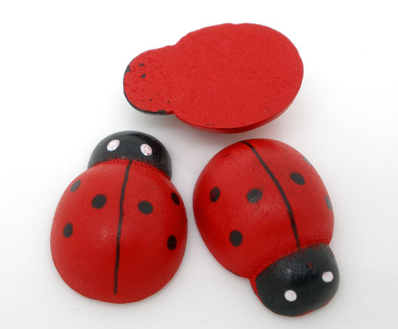 Free Shipping 100pcs Red Painted Wood Ladybug Craft Ornament for Scrapbooking 19x13mm(China (Mainland))