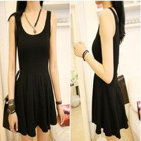 Free shipping! 2013 New spring and summer sleeveless Pleated dress ruffle dress one-piece dress