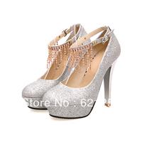 Fashion high-heeled shoes platform  strap chain rhinestone female shoes sexy shoes wedding shoes low-top