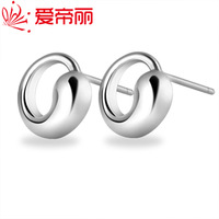 925 pure silver stud earring female simple anti-allergic earrings small white fungus accessories small ears