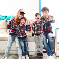 Plus size fashion winter family set clothes for mother and daughter clothes for mother and son multicolour plaid