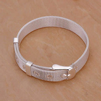 Free Shipping Wholesale 925 Silver Plated Plated bracelet, 925 Silver Plated Plated fashion jewelry Small Web Watch Belt Bracele