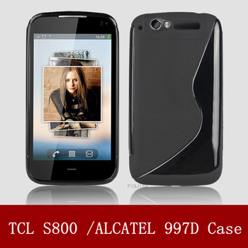 Hight quality Soft Tpu case For Alcatel OT-997 997D TCL S800v matte soft case cover  mix color accept DHL free shipping