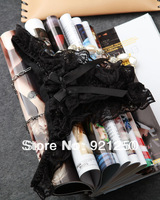 Free shipping tracking number, new 2014, sexy ladies,Sexy Bowtie Lace G String Split Slit Open Crotch Underwear Women Panties