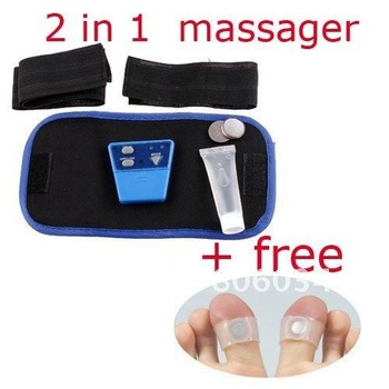 1 x2in1 AB Gymnic Electronic Muscle Arm leg Waist Massage Belt+free Magnetic Silicon Foot Massage , Free Shipping , Dropshipping