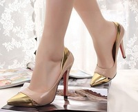 Free shipping womens shoes spring 2013 platform pumps wedges silver prom high heels hot arrival arge pointed toe