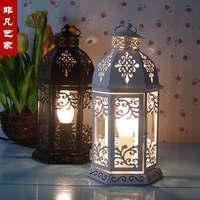Free shipping Nostalgic vintage white wrought iron table lamp lantern desk lamp Creative cafe bar lantern