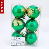Free shipping Light green 6cm colored drawing christmas ball christmas tree decoration christmas gift