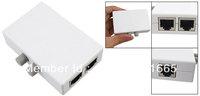 Gray Push Button RJ45 2 Ports Network Switch Plastic Hub White for PC