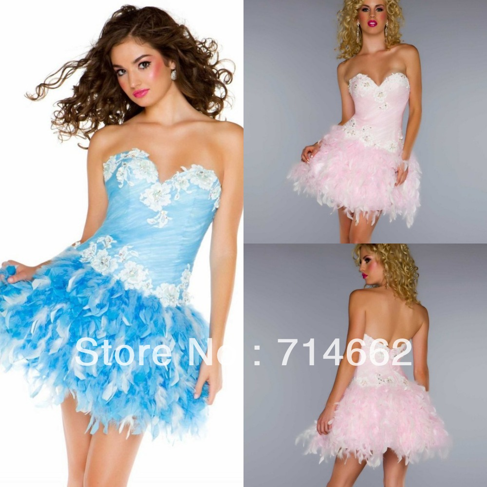 2013 New Fashion PInk Feather Homecoming Dress Sweet 16 Girls Dress Custom Made(China (Mainland))