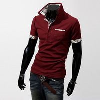 Free shipping new Casual short-sleeve slim turn-down collar solid color men&#39;s t-shirt male clothes spring