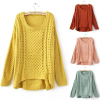 Free Shipping 2014 New Autumn Winter Women Lady Round Neck Hollow Knitted Pullover Jumper Casual Loose Sweater Knitwear 5 colour