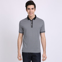 2013 philae male short-sleeve T-shirt men's casual clothing turn-down collar stripe cotton t-shirt