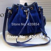 European Vintage Women leather handbag ,tassel bucket design shoulder bag with long strap new fashion free shipping