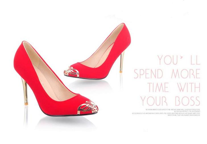 2013 fashion comfortable high-heeled shoes red wedding shoes classic 0812 formal shoes pointed toe shoes(China (Mainland))