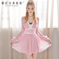 elegant ! V-neck lace  long-sleeve chiffon one-piece online dress  Pink