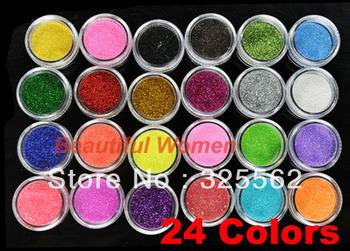 5set/lot 2012 New Arrival 24 Colors Metal Shiny Acrylic Nail Powder Glitter Dust Kit UV Stamp Art Tool 3069