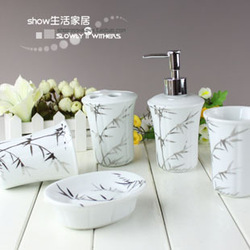 free shopping Jingdezhen ceramic bathroom set five pieces set platinum green bamboo 3(China (Mainland))