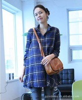 Maternity clothing autumn upperwear shirt maternity clothing summer top spring and autumn plus size maternity plaid shirt