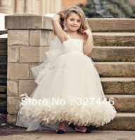 2013 Custom Made Free shipping New Arrival Lovely Vintage Bridal Flower Girl Dress Tulle Spaghetti Straps Feather Beaded