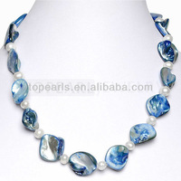 Free Shipping! White Potato Pearl Blue Shell Necklace ND08080