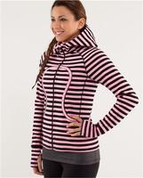 lulu hoodies scuba Lady Sport  Athletic Jacket yoga wear coat Women's hoodies fashionable popular pink stripe clothes