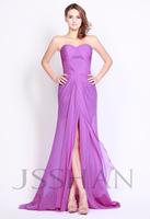 12P083 Strapless Ruching Front Split Chiffon Luxury Unique Elegant Gorgeous Brilliant Prom Evening Dress Long Prom Dress