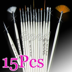 15pcs White Nail Art Acrylic Gel Tips Design Painting Drawing Pen Polish Brush Set Kit Free Shipping(China (Mainland))
