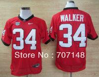 College Football Jersey Georgia Bulldogs Herschel Walker 34  Red 2012 SEC Patch -Free Shipping