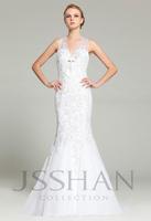 2015 New V-Neck Halter White Tulle Mermaid Gorgeous Luxury Elegant Junoesque Unique Bridal Wedding Dress Wedding Gown