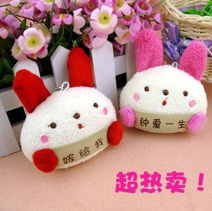 Fashion NEW Winter plush cute rabbit toy cartoon mobile phone chain keychain bag pendant accessories