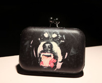 Free shipping  2014 Fashion Rottweiler  Dog Head Clutch Bag Messenger Party Evening Bag