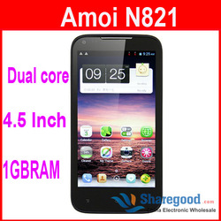 "Amoi N821 android phone 4.5"" IPS Screen Dual core 8.0MP Camera WCDMA Bluetooth GPS Bluetooth free shipping(China (Mainland))"