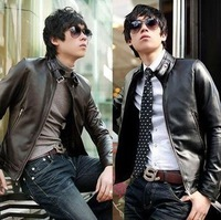 Free shipping.Men's top&coat.Men'sleather jacket Korean catwalks shall Slim leather jacket PU hot selling .black&brown[07-2001]