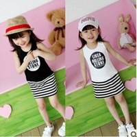 2013 children summer clothing Korean Girls sleeveless vest dress miniskirt striped dress