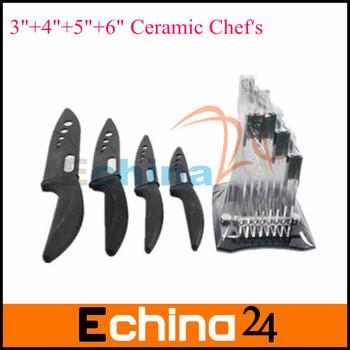 "4pcs/ set 3""+4""+5""+6"" Ceramic Chef's Horizontal Kitchen Knife with knife rest Black Ceramic Knife set Free Shipping"