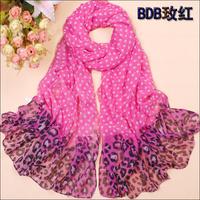 spring and autumn chiffon silk scarf polka dot silk leopard print sunscreen scarf female scarf