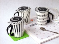 2013 New Arrival Music Style Ceramic Cup With Cover Ceramic Cup Mug Fashion Glass Free Shipping