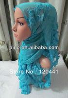 tc225 wholesale free shipping fashion design hot arab hijab scarf 180*56cm and muslim flower hijab