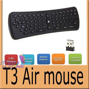 5pcs/lot T3  wireless Air mouse 2.4G remote keyboard Mini 3D Gyroscopeg-sensor  Air Mouse For Andriod TV PC DHL Freeshipping