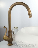 High Quality Luxury Two Spunts Faucet Mixer Tap Antique  Brass Totally Copper Single Hole Kitchen Sink Bathroom Basin  #5