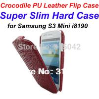 New Arrival, i8190 slim hard case, Super Slim Crocodile pattern PU Leather flip cover for Samsung galaxy S3 mini i8190,free ship