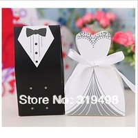 Free shipping (100 pcs/lot) Europe style  married wearing the dress of the bride and groom wedding candy box  wedding decoration