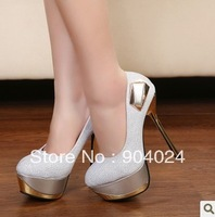 Free shipping  fashion women Platform pumps high heels shoes metal buckle metal heels shoes35-39