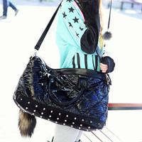 Cat bag limited edition down shoulder bag dimond plaid handbag rivet women's handbag m06-128