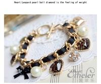 SX001 (Gril's Love Leopard Pearls heart Bracelet Jewelry wholesale! Free shipping!