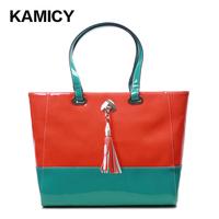 Kamicy2012 women's handbag vintage colorant match preppy style tassel cowhide shoulder bag