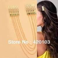 2013 New Women Chic Hair Cuff Pin Head Band Chains 2 Combs Tassels Fringes Boho Punk 8071
