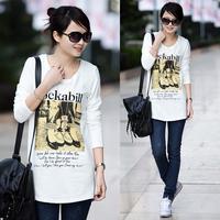2013 women's spring female t-shirt long-sleeve basic shirt low collar shirt white t-shirt Women long-sleeve